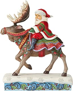 Jim Shore Heartwood Creek 6004133, 9.25 ,Resin Santa Riding Moose Figurine, Multi Coloured