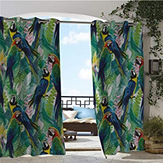 Linhomedecor Gazebo Waterproof Curtains Parrots Colorful Parrots Tropic Flowers Warm Weather Gardens Vacation Traveling Navy Blue Green Yellow pergola Grommet Patterned Curtain 84 by 108 inch