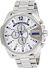 Diesel Men's Mega Chief Quartz Watch with Stainless-Steel Strap, Silver, 12 (Model: DZ4477)