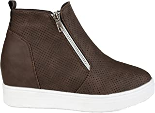 Womens Dual Zipper High top Wedge Sneaker