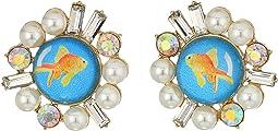 Betsey Johnson Goldfish Stud Earrings