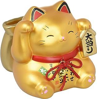 彩耀 大当り 招き猫(金)(宝くじ入れ・貯金箱) 7423