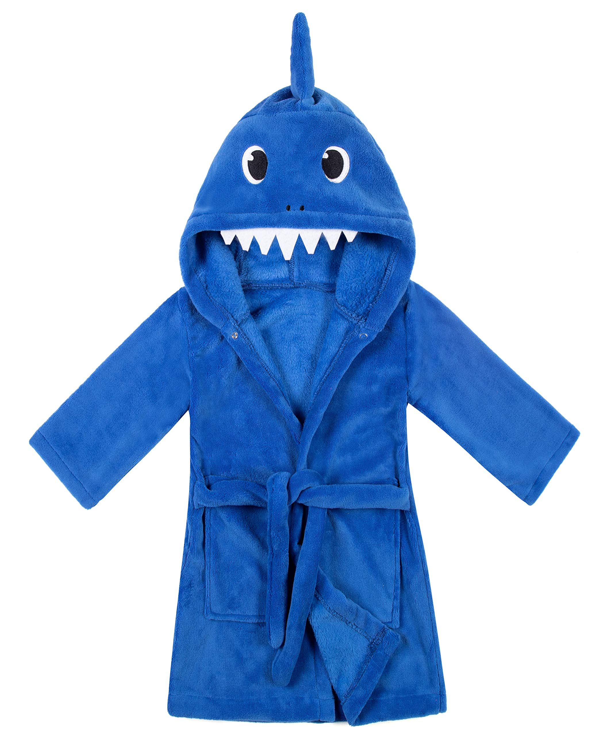 Image of Bright Blue Shark Hooded Robe for Boys and Toddler Boys