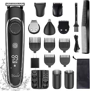 کیت اصلاح موی برش مو Hatteker Hair Clipper Hair Trimmer Grooming Kit اصلاح مو تراش برقی ریش تراش برای مردان سبیل بینی گوش بدن اصلاح کننده مو Groomer Multigroom IPX7 ضد آب شارژی قابل شارژ 6 در 1
