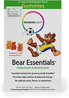 Rainbow Light - Bear Essentials Multivitamin and Mineral - Gummy Supplement Provides Vitamin D3; Vitamins C, A, and E Support Immunity and Healthy Bone and Muscle Development in Kids - 30-Pack Box