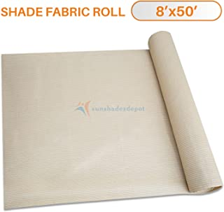 TANG Sunshades Depot 8'x50' Shade Cloth 180 GSM HDPE Beige Fabric Roll Up to 95% Blockage UV Resistant Mesh Net for Outdoor Backyard Garden Plant Barn Greenhouse