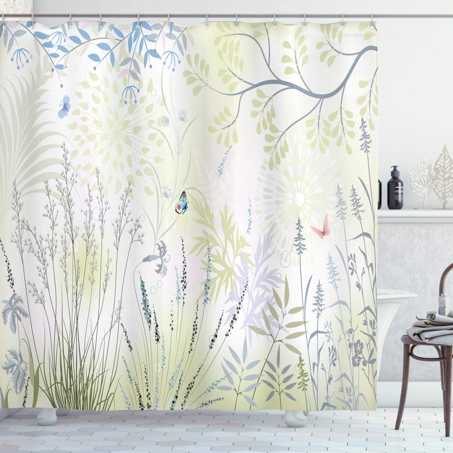 Ambesonne Nature Shower Curtain Wild New sales Butterfly and Herbs C Super special price Fern