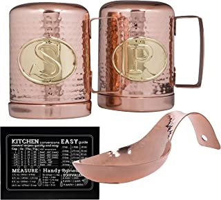 Stovetop Salt and Pepper Shakers and Large Spoon Rest Set Including Easy Recipe Conversion Guide Copper Kitchen Accessories Set