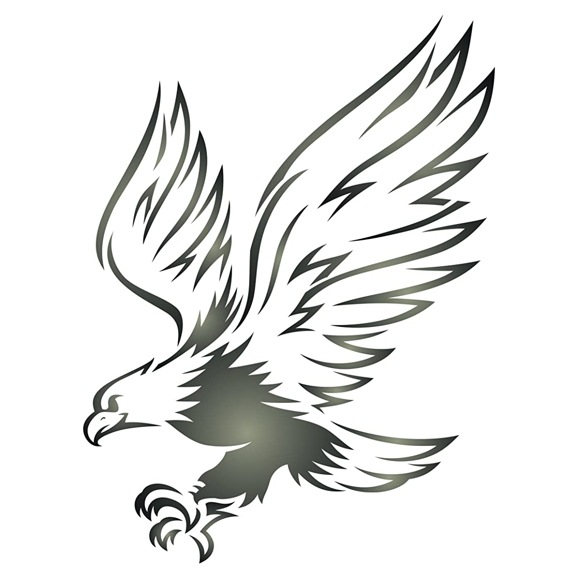 Eagle Stencil -8.5 x 11.5 inch (L) - Reusable Bird Animal Wildlife Wall Stencil Template - Use on Paper Projects Scrapbook Journal Walls Floors Fabric Furniture Glass Wood etc.