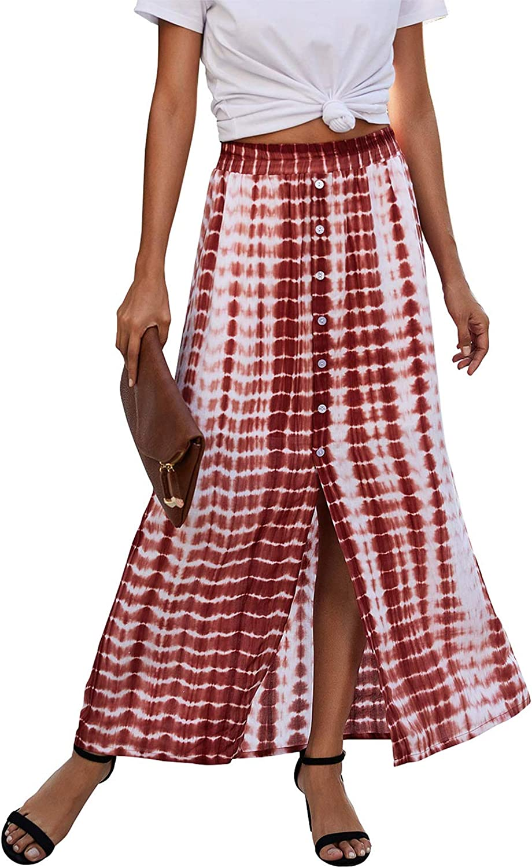 Women 's Bohemian Tie Dye Print Long Skirts High Waist Button Down Elastic Waist Maxi Split Casual Skirt