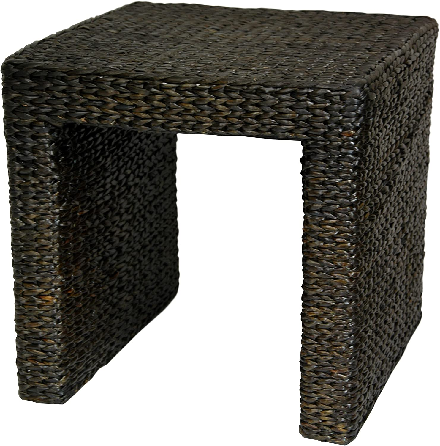 Oriental Furniture Great Good Best Simple Rustic Beautiful, 18-Inch Woven Natural Fiber Water Hyacinth Square End Table Night Stand, Black