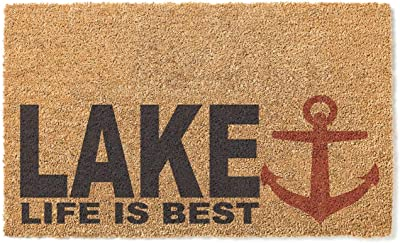 Kindred Hearts 18x30 Coir Doormat Lake Life is Best Anchor, Multicolor