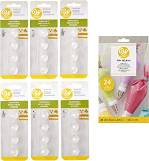 Wilton Disposable No. 6 Round Decorating Tips and Bags Set, 25-Piece