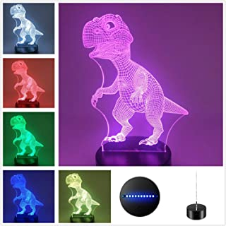 Dinosaur Collection Suntint 3D Optical Illusion Sleeping Night Light Multi Colors USB Powered Lamp Room Office Decoration (Dinosaur A)