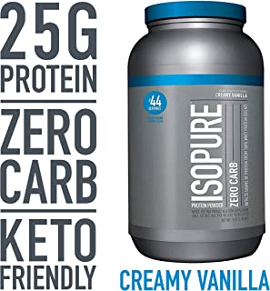 Isopure Zero Carb, Keto Friendly Protein Powder, 100% Whey Protein Isolate, Flavor: Creamy Vanilla, 3 Pounds