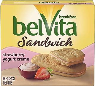 belVita Sandwich Strawberry Yogurt Creme Breakfast Biscuits, 5 Packs (2 Sandwiches Per Pack)