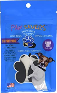 Small Paw Savers, Disposable Dog Paw Pads, (17-33 lbs) 24 Pieces