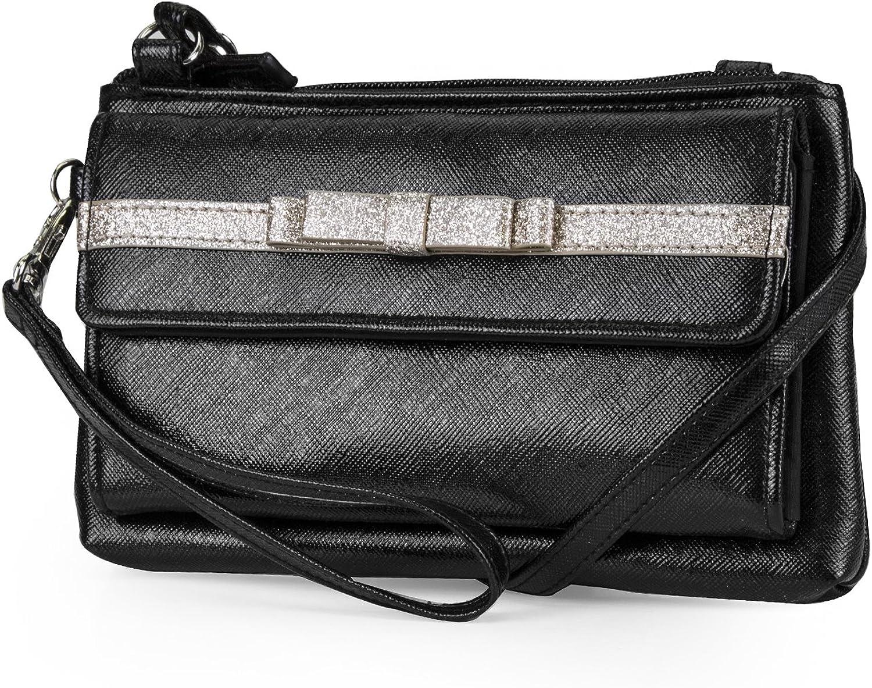 Mundi Chelsea Double Bow Womens RFID Crossbody Wallet Bag