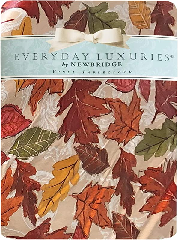 Newbridge Falling Leaves Autumn And Thanksgiving Print Vinyl Flannel Backed Tablecloth Fall Season Contemporary Leaf Print Tablecloth 52 Inch X 70 Inch Oblong Rectangle