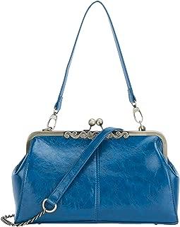 New Small Retro Vintage Kiss Lock Imitation Leather Purse Handbag Totes Bag for Women,girls