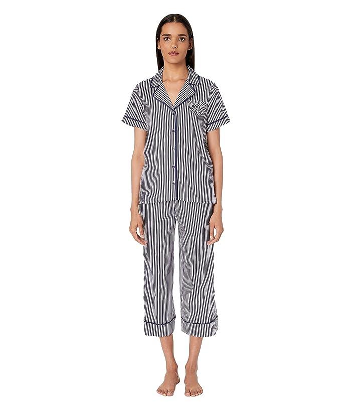 Kate Spade New York Woven Lawn Heart Cropped Pajama Set (Navy Stripe) Women