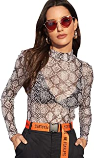 Women's Star Mesh See Through Mock Neck Long Sleeve Tops Tee