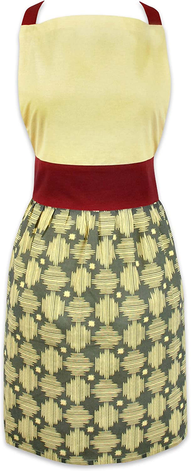 DII 100% Cotton, Trendy, Fashion Skirt Ladies Women Apron, Kitchen Chef Adult Apron, Adjustable Neck & Waist Ties, Perfet for Gift, Cooking, Baking, Crafting Crosshatch