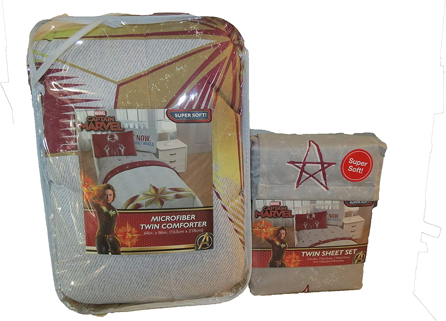 Official Captain Marvel Twin Bed in Bag Set