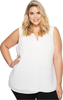 Plus Size Sleeveless Crinkle Blouse