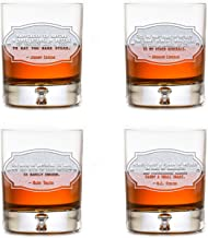 Gifts For Men, Whiskey Quotes Rocks Bourbon Glasses, Set Of 4