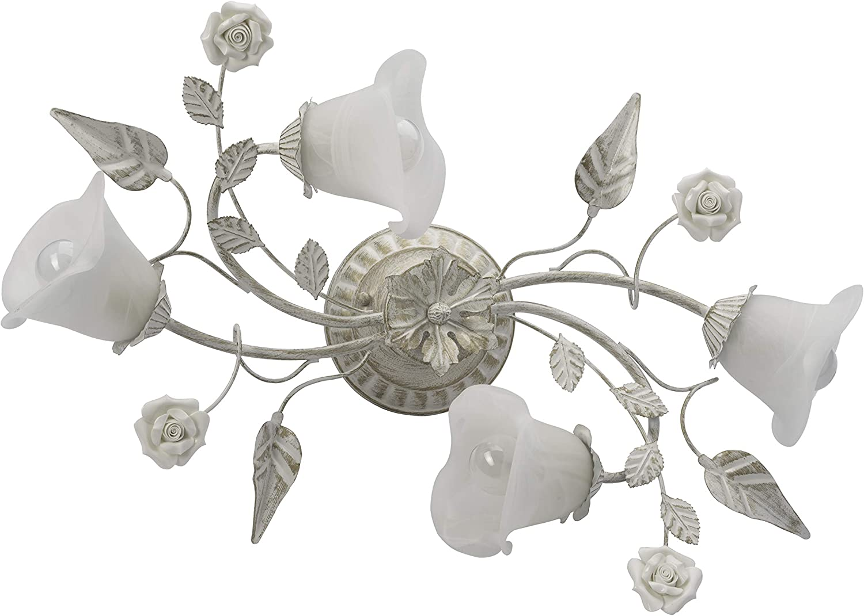 MW-Light 242014704 Deckenleuchte Florentiner Metall Beige Glas Wei Matt 4 Flammig x 60W