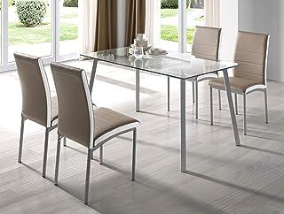 Miroytengo Conjunto Mesa Cristal Dima + 4 sillas Meli Polipiel Camel Estilo Moderno Comedor Cocina Salon