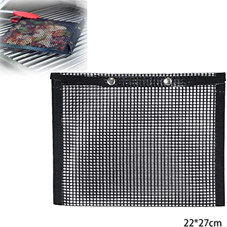 MUXAN BBQ Grill Mesh Bag, Non-Stick Baked Bag Grilling High Temperature Resistance Reusable Mesh Grilling Bag for Outdoor Picnic Cooking BBQ (Large)