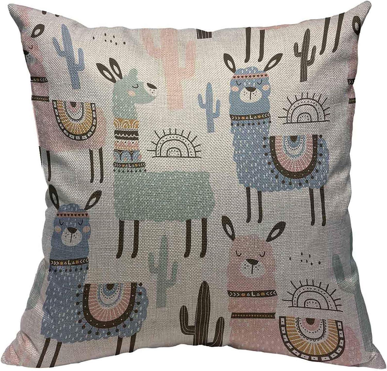 18. Llama Cactus Cotton Linen Square Pillowcases