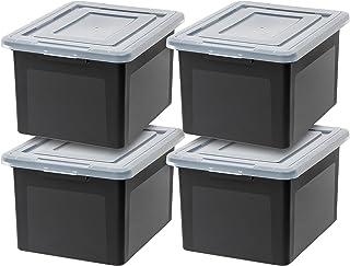 IRIS USA R-FB-21E Letter & Legal Size File Box, Medium, Black, 4 Pack
