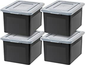 IRIS USA, Inc. R-FB-21E Letter & Legal Size File Box (4 Pack), Medium, Black, 4 Count