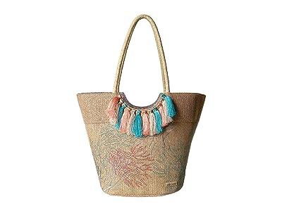 Sakroots Artist Circle Lola Beach Bag (Embroidered Coral) Tote Handbags