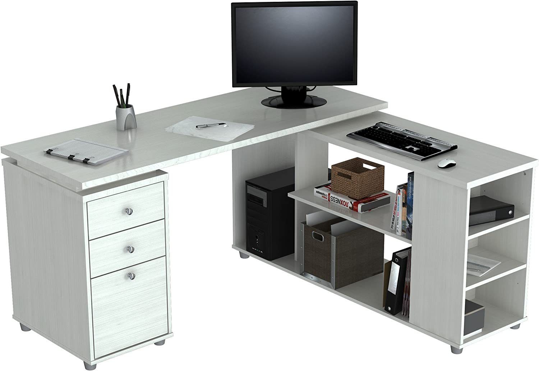 Inval America L Shaped Work Station Computer desk, White