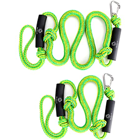 Jet Ski QuanQing Bungee Dock Line,2 Pack/Boat Cords Mooring Rope/Black Docklines Accessories/of 4 ft Perfect for Power Boat,PWC Kayak Pontoon/ WaveRunner SeaDoo