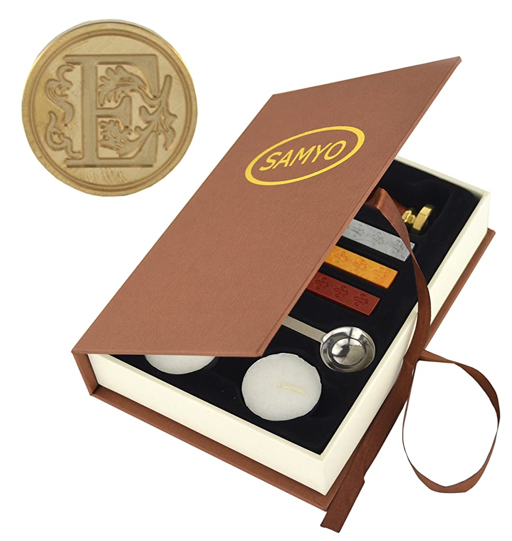 Stamp Seal Sealing Wax Vintage Classic Old-Fashioned Antique Alphabet Initial Letter Set Brass Color Creative Romantic Stamp Maker (E)