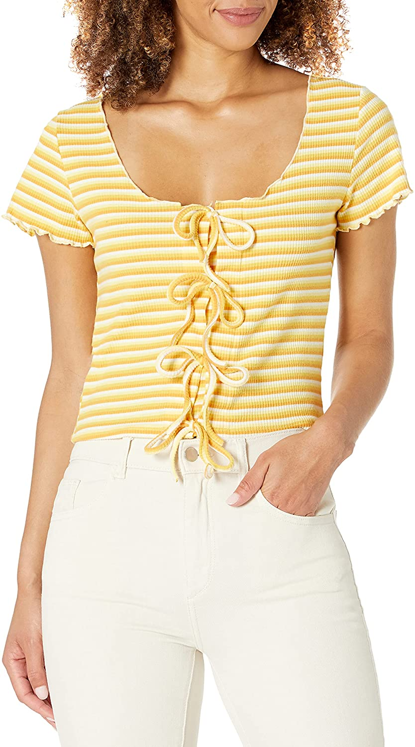 KENDALL + KYLIE Women's Cropped Knit Top with Front Tie