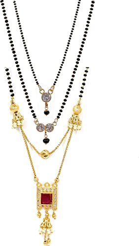 American Diamond One Gram Gold Plated Combo Of 3 Mangalsutra Necklace Pendant Tanmaniya Nallapusalu Black Bead And Golden Chain For Woman And Girls
