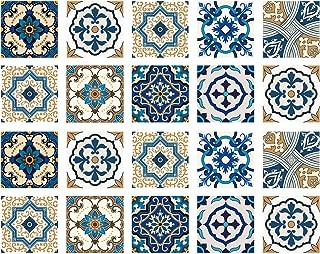 Poromoro Spanish Portuguese Azulejo Style Peel and Stick Tile Stickers Set of 20/30/40 pcs (3.9, ZE)