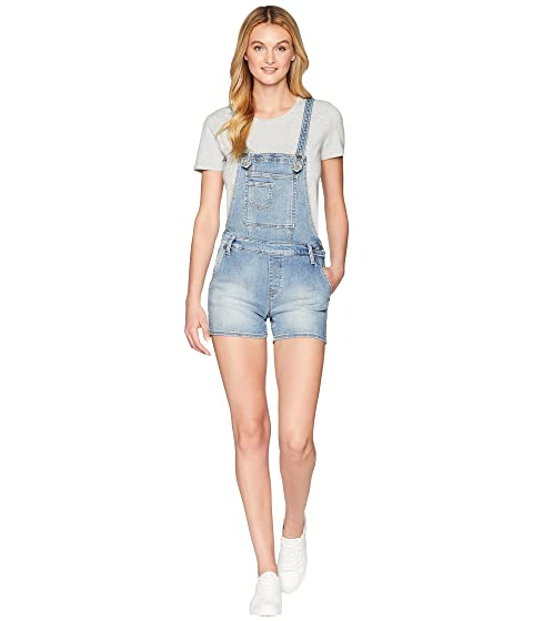 MISS ME Five-Pocket Overall Shorts, Medium Blue