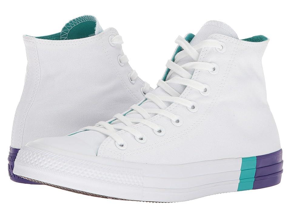 Converse Chuck Taylor(r) All Star Tri Block Midsole Hi (White/Enamel Aqua/Court Purple) Classic Shoes