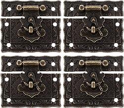 BESTonZON Antieke decoratieve haspenkistje sluiting 4 stuks brons zinklegering sloten klein formaat voor schatkist juwelen...