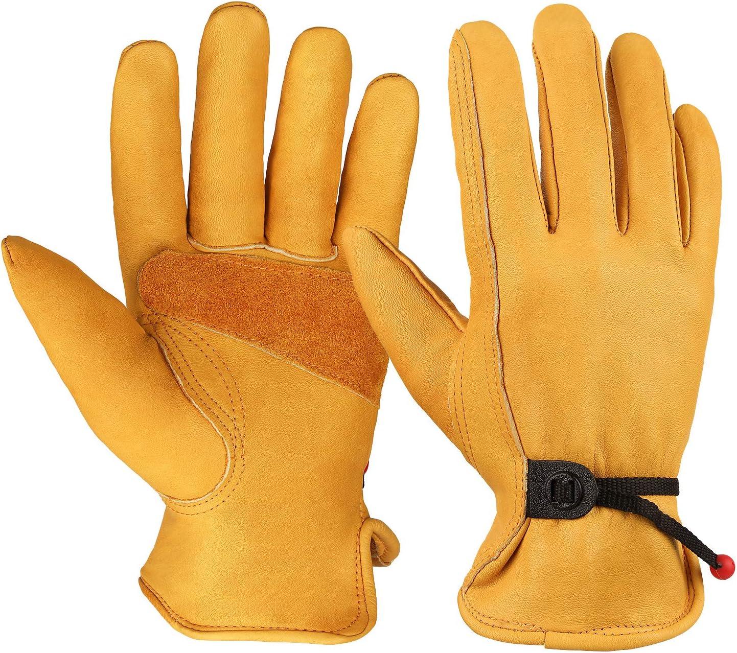 OZERO Flex Grip Leather Work At the price Cowhi Gloves Adjustable Wrist Tough Max 58% OFF