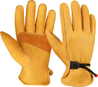 OZERO Flex Grip Leather Work Gloves Adjustable Wrist Tough Cowhide Garden Glove for Men..