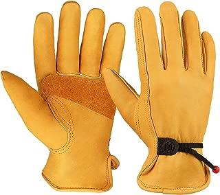 OZERO Flex Grip Leather Work Gloves Adjustable Wrist Tough Cowhide Garden Glove for Men..