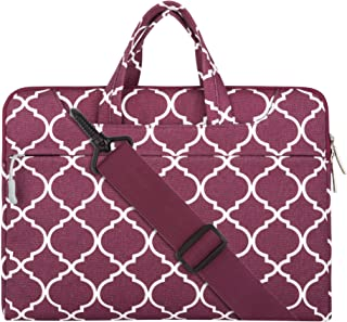 Mosiso Laptop Shoulder Bag for 15 Inch New MacBook Pro Canvas Briefcase Carrying Handbag Sleeve Case Cover, Wine Red